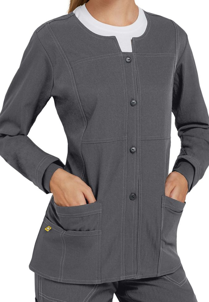 c651dcd2413 WonderWink Four-Stretch button front scrub jacket. Main Image | Work ...