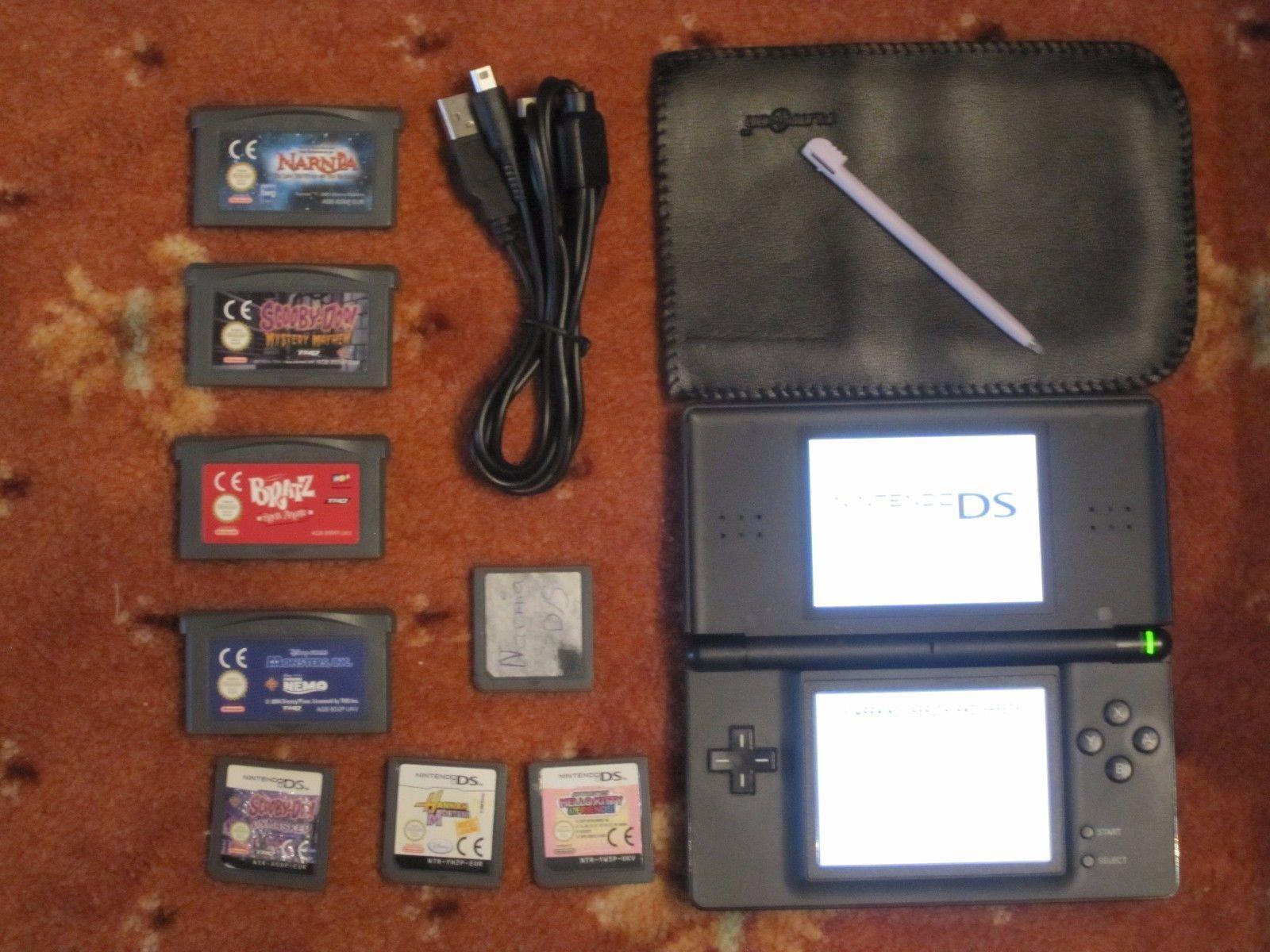Black Nintendo DS Lite 8 games case & USB charger bundle. https://t.co/IBfXFDbeMz https://t.co/6QiG3NHNPL