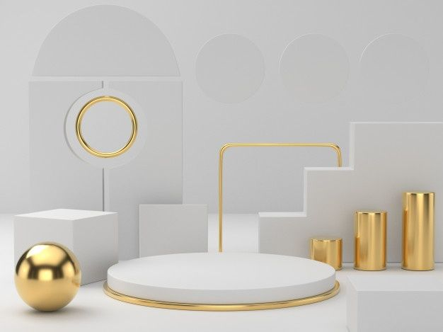 3d rendering of white gold pedestal podium on clearly background, abstract minimal podium blank space for beauty cosmetic product, | Premium Photo
