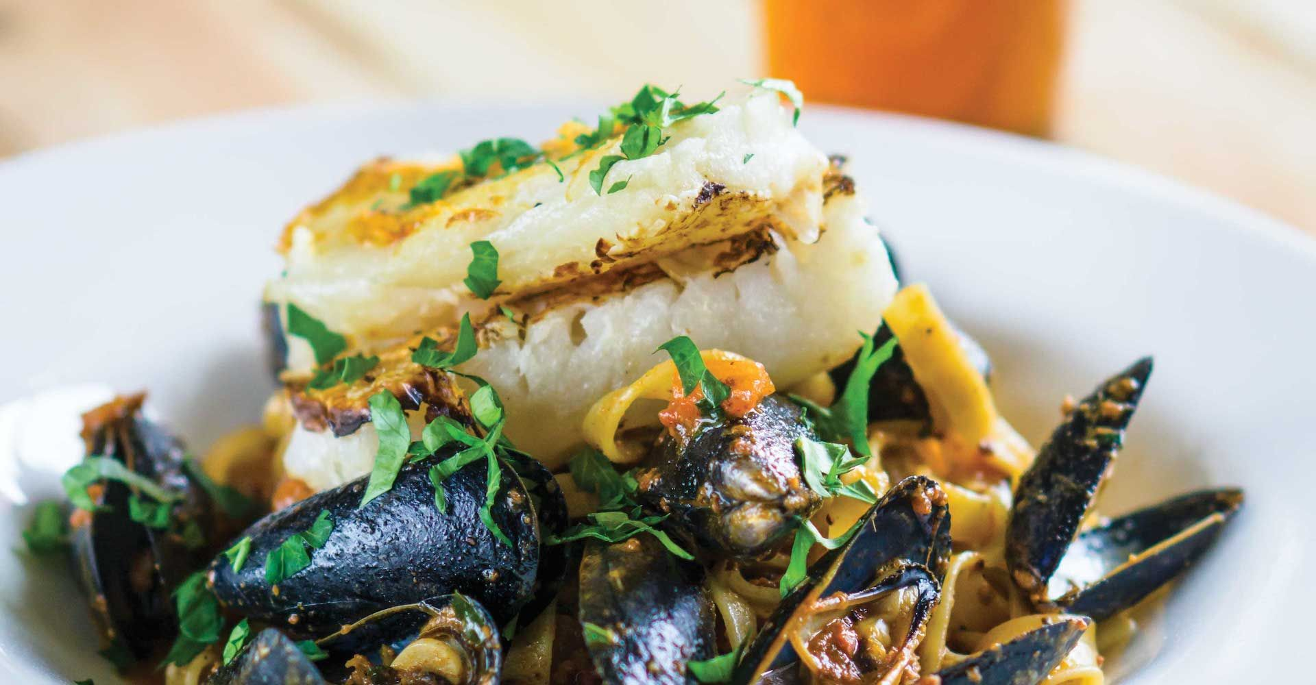 Seared Cod with Mussels and Beer Butter Sauce Recipe