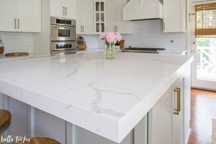 Msi Calacatta Laza Quartz Mitered Edge Quartz Kitchen