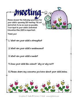 Parent Questionnaire for IEP Meetings | Iep meetings ...