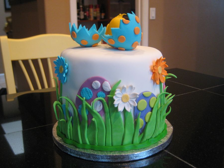 Final Easter Cake with Chick | Easter, Cake and Garden party cakes