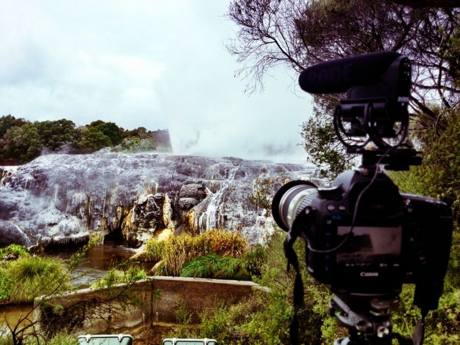 """Filming with the #5Dmk3 thanks to @canonnz and @rodemics video mic pro at Rotorua in NZ"""