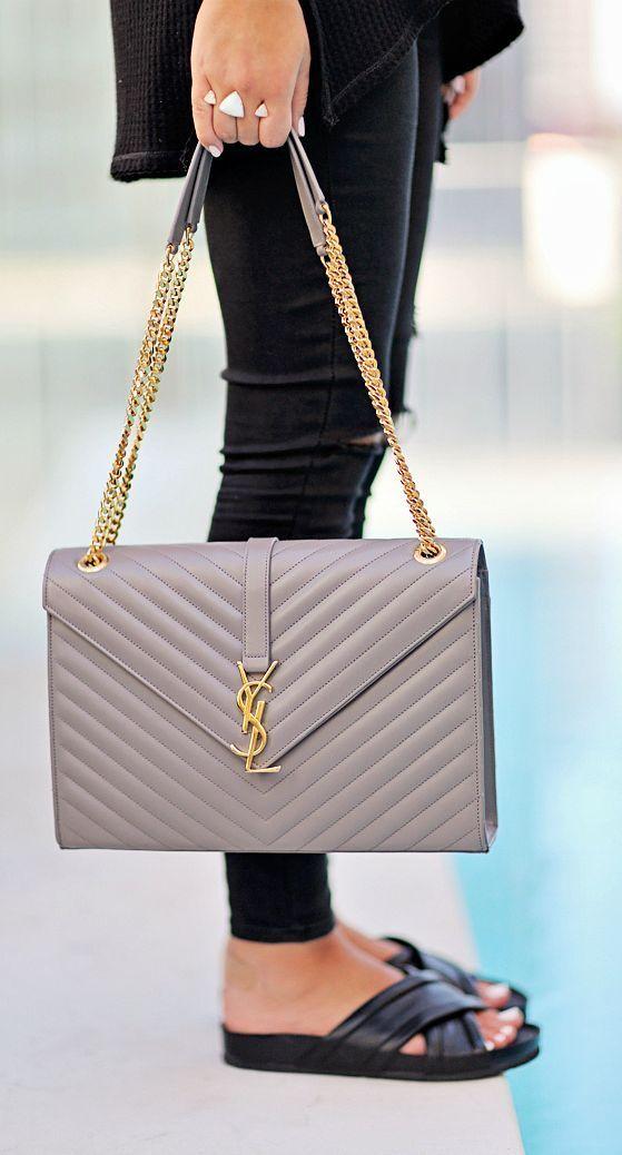 Grey Yves Saint Laurent Handbag Designer Bags Women Handbags Fashion Handbags Handbags Michael Kors