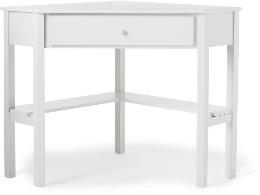 Antique White Wood Corner Computer Desk Office Writing Crafts Small Space Dorm Simpleliving Modern Corner Computer Desk Space Saving Computer Desk White Wood