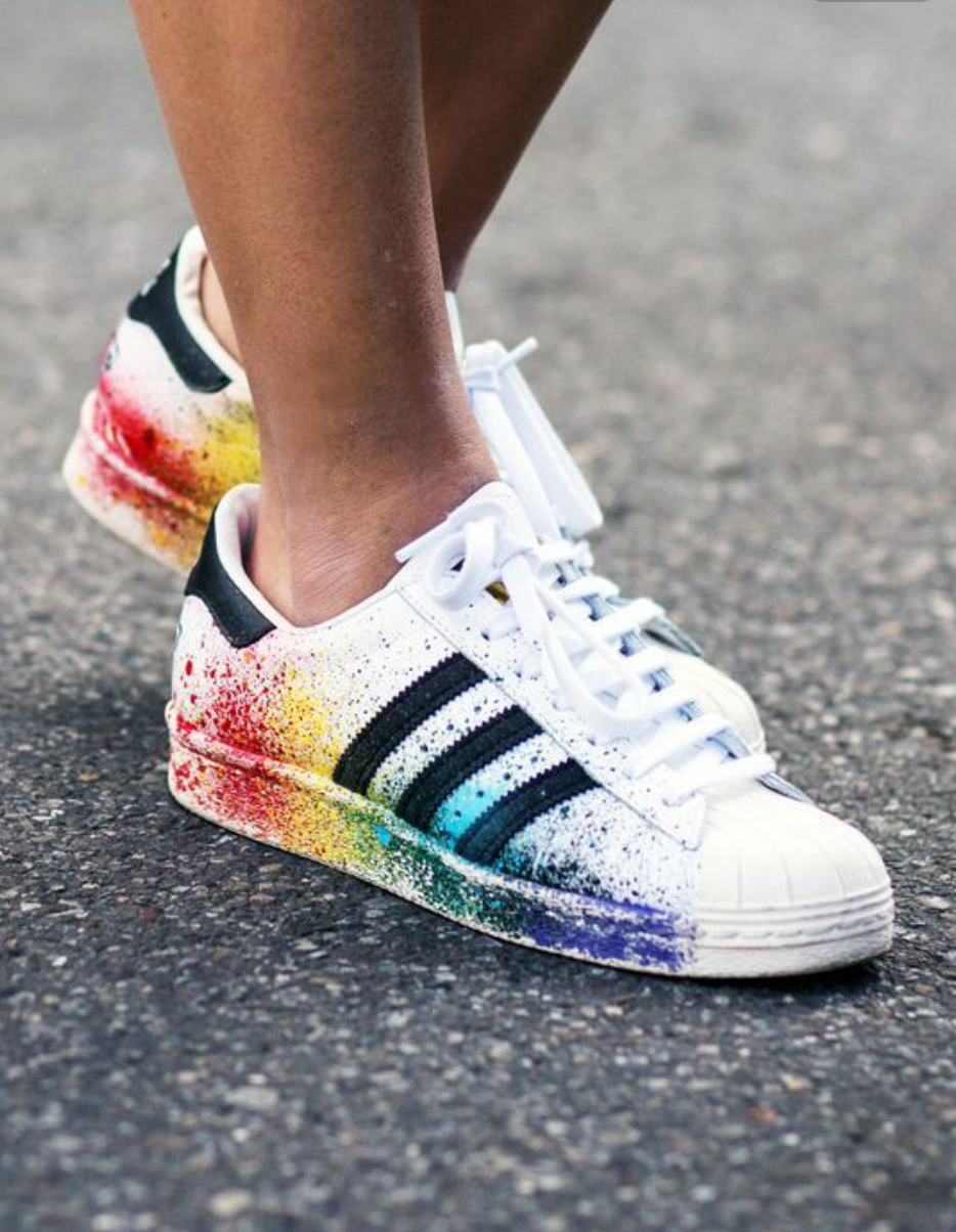 adidas shoes superstar splattered paint diy jeans into shorts 59