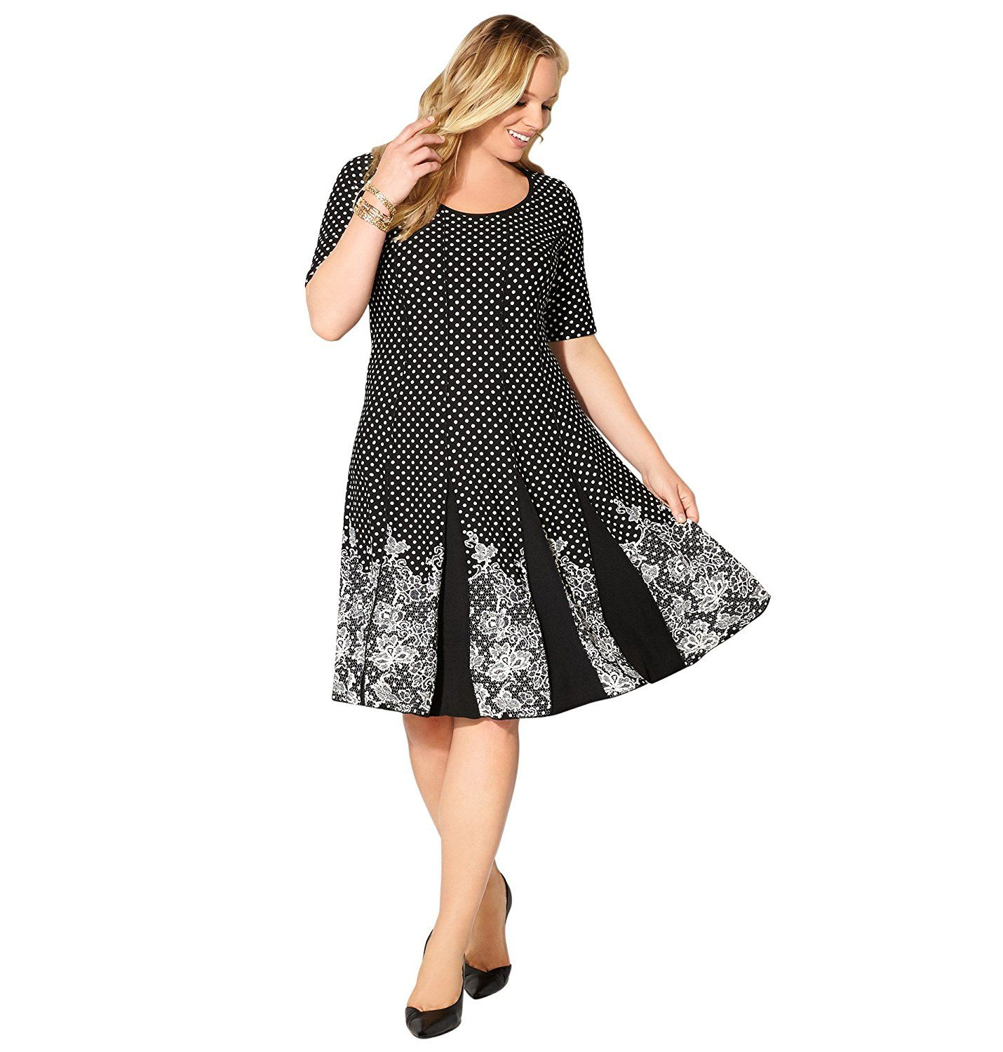 Avenue Women S Seamed Lace Dot Fit And Flare Dress Awesome Product Click The Image Plus Size Dresses Fit And Flare Dress Plus Size Dresses Fit And Flare [ 1500 x 1430 Pixel ]