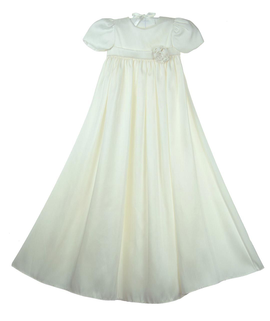 d13ec67f1df NEW Elegant Pearl White Silk Christening Gown with Silk Rose  150.00 ...