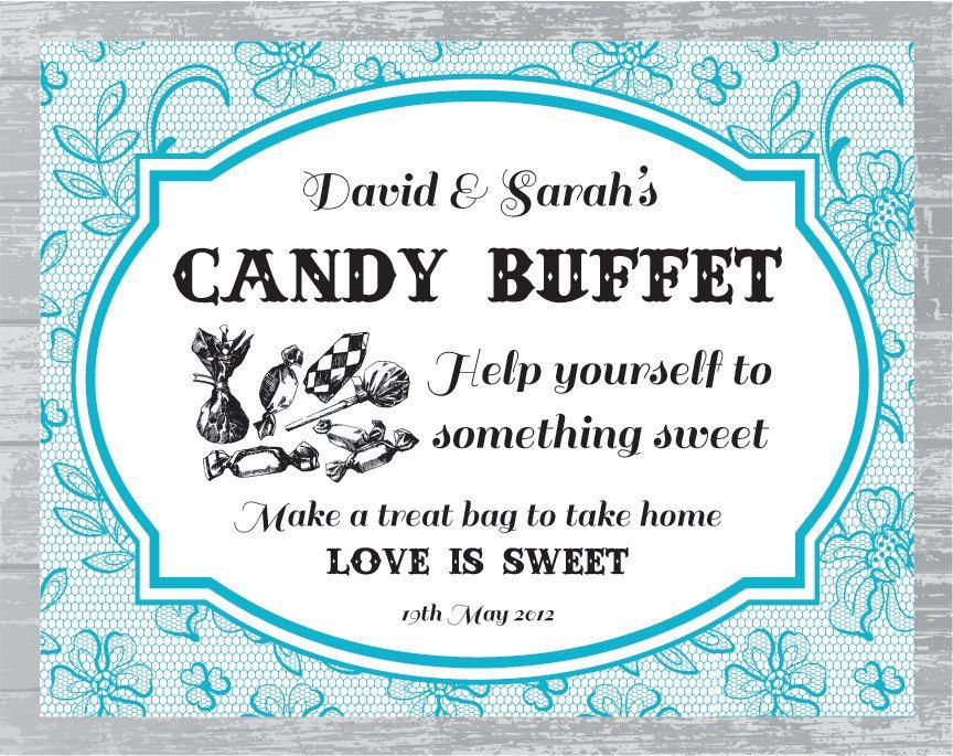 Custom Lace Candy Buffet Sign DIY Wedding Sign Printable ...