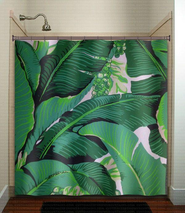 Banana Leaf Shower Curtain Brazilliance Tropical Jungle Green Palm