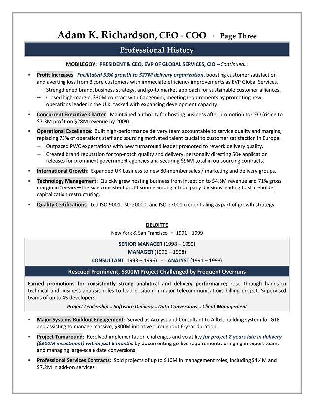 CEO / COO Sample Resume - Executive resume writer Sacramento