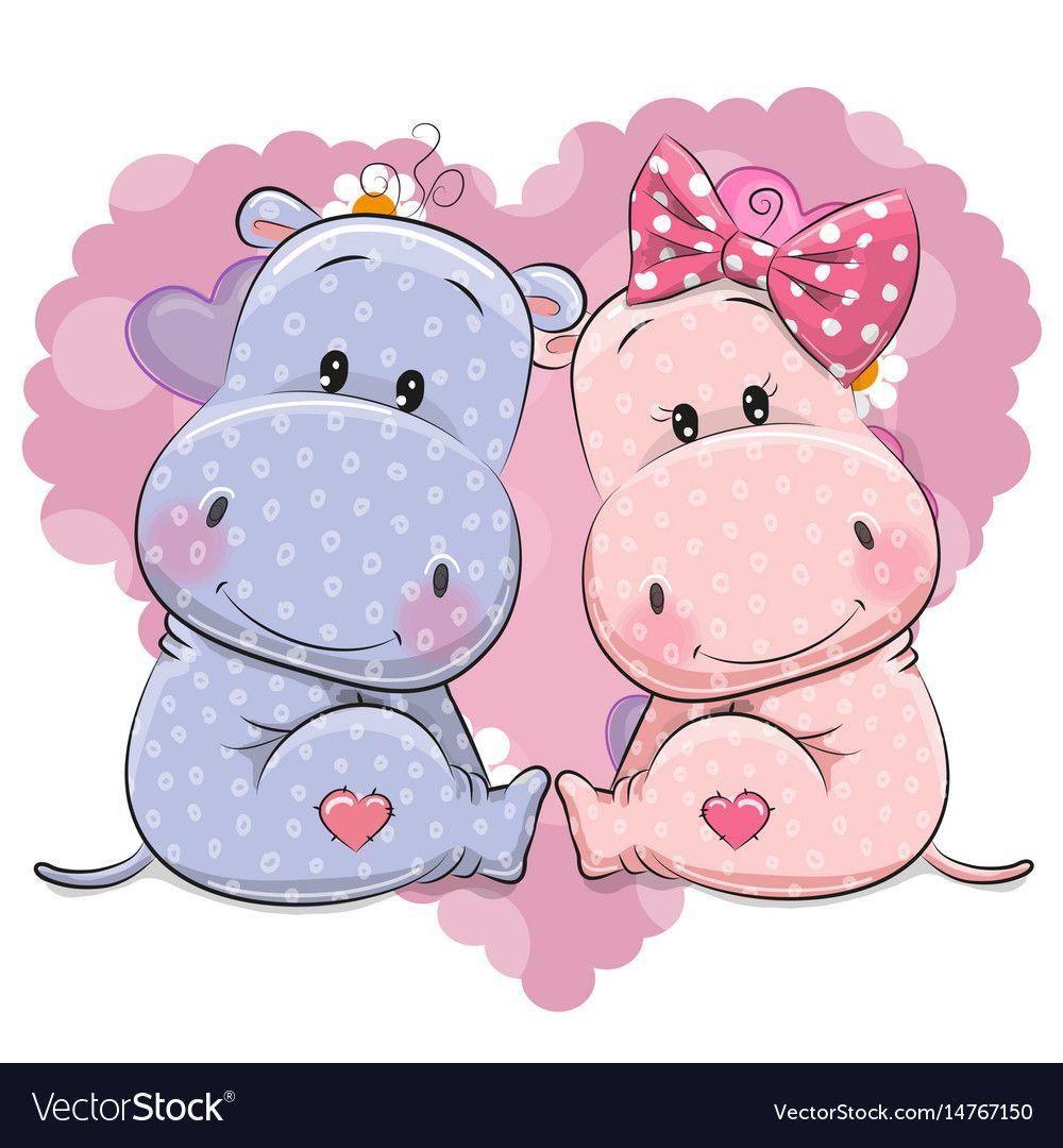 Two Cute Cartoon Hippos Royalty Free Vector Image Cute Hippo Cartoon Hippo Cute Cartoon Animals
