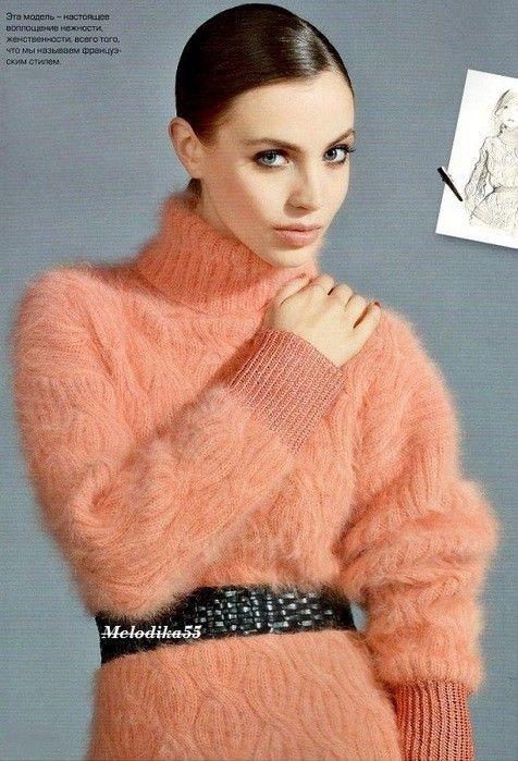 Пуловер с ангоры схема
