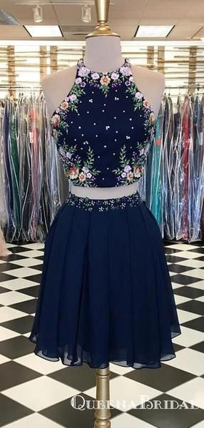 Cute Two Piece Halter Navy Blue Chiffon Short Homecoming Dresses with Embroidery, QB0861