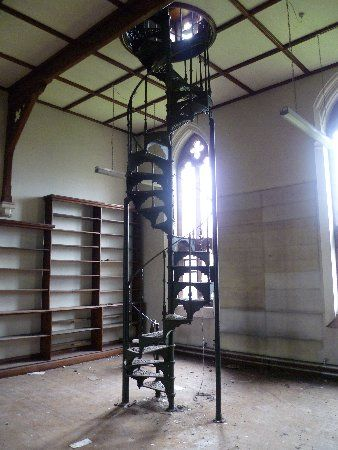 Spiral staircase in the library of Saint Joseph's Roman Catholic Seminary, Upholland, Lancashire.