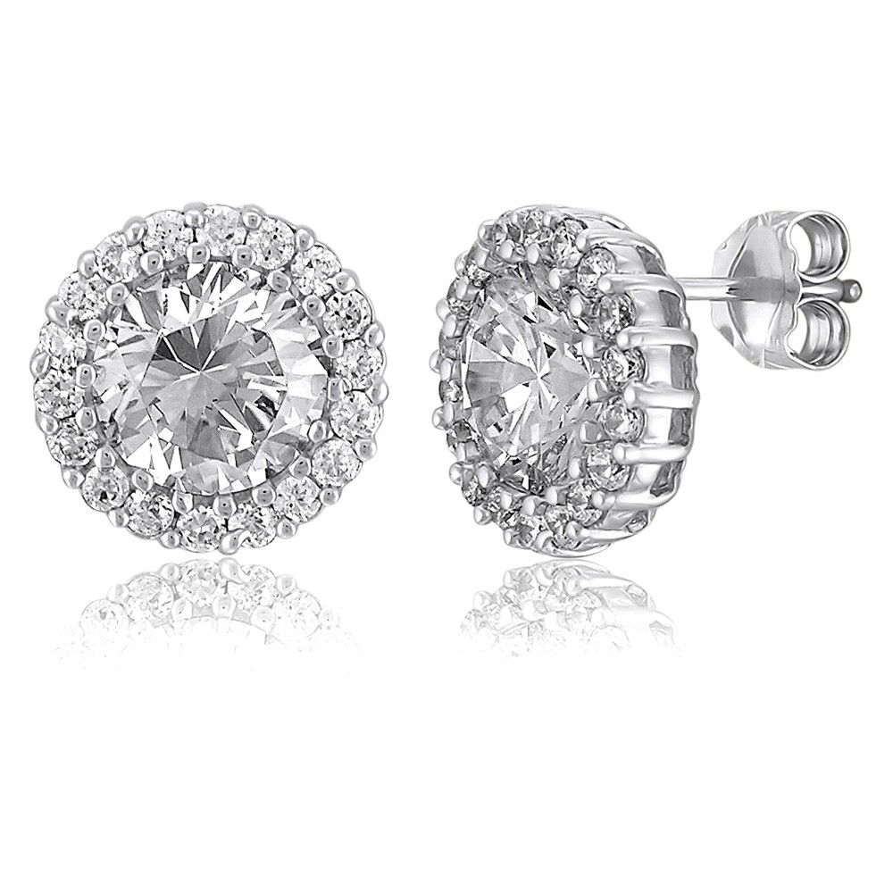 Sterling Silver Round Cubic Zirconia Cz Halo Stud Earrings
