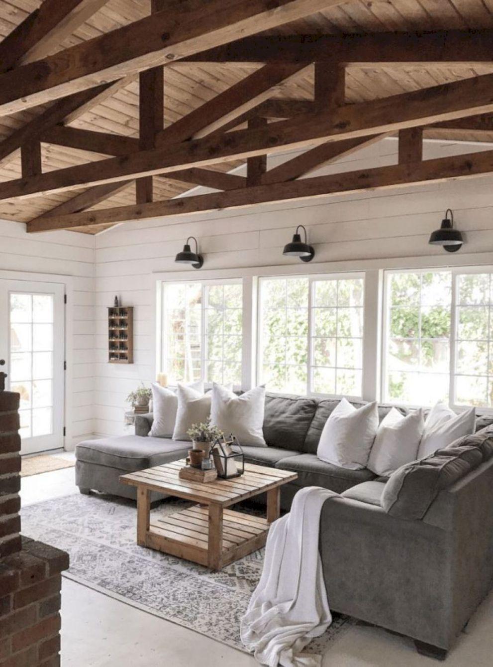 Farmhouse Living Rooms On Pinterest