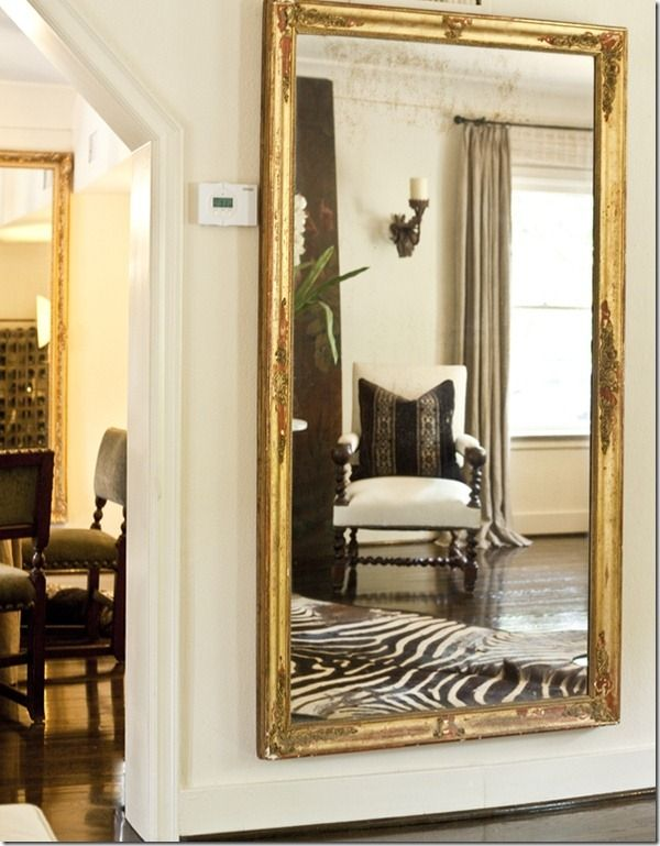 Gilded Full Length Mirror In Hallway Home Interior