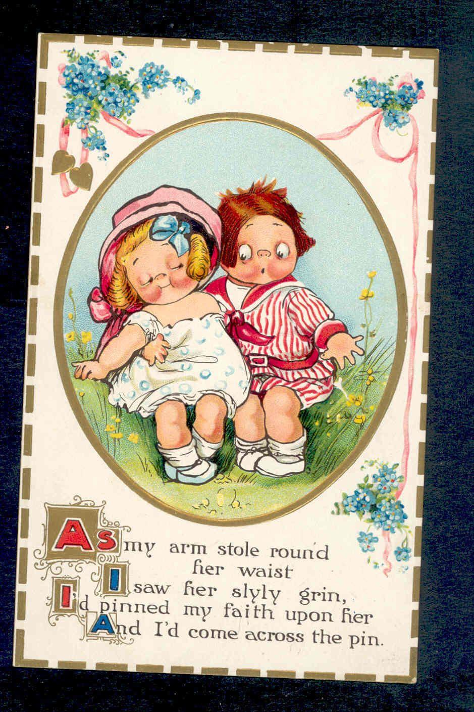 "Wiederseim Drayton Romantic Children ""I Saw Her Slyly Grin"" Vintage Postcard | eBay"