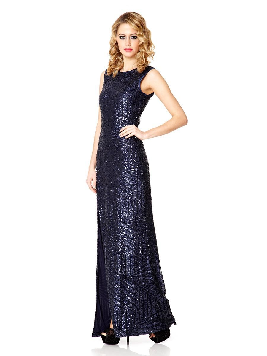 215e9f1a945 Navy Sequin Zig Zag Split Maxi Dress - Quiz Clothing