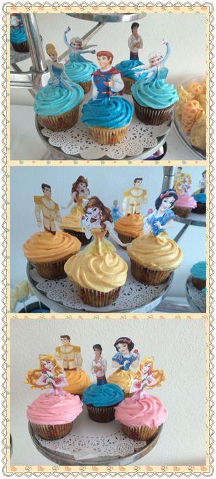 Cupcakes de príncipes y princesas para fiestas infantiles