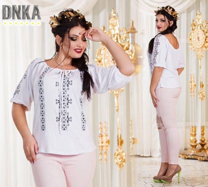 Красивая блуза с орнаментом ,большого размера ,шикарный вырез
