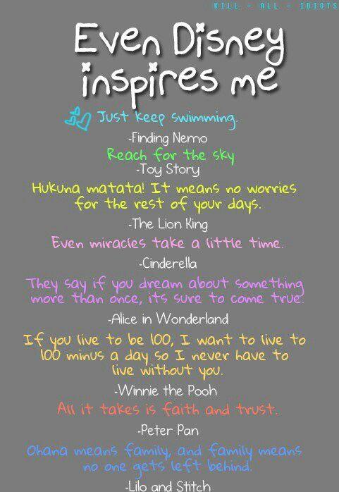 Disney inspires me    Quotes   Disney movie quotes, Disney