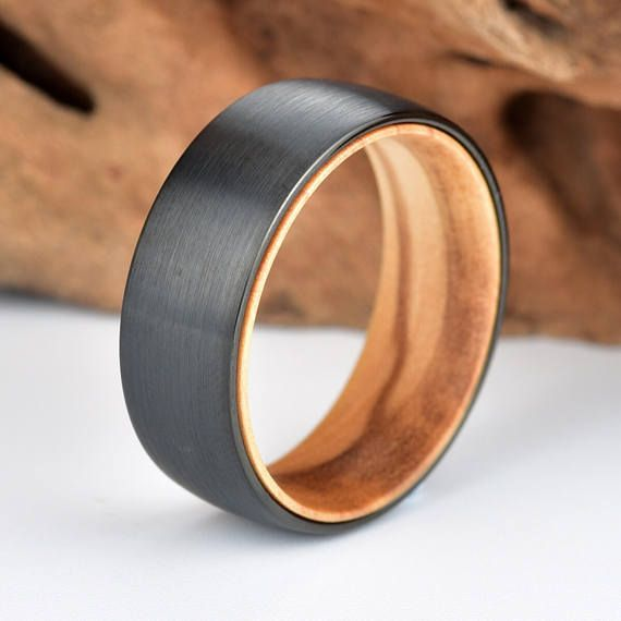Mens Wedding Band Black Tungsten Lined With Exotic Olive Wood