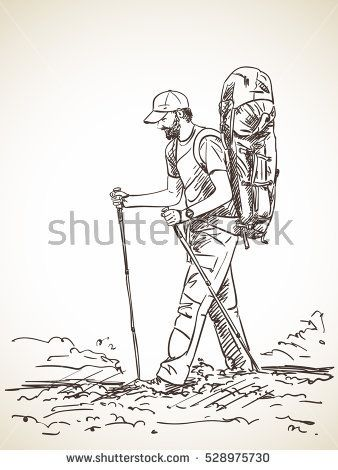 sketch of man trekking with big backpack hand drawn vector