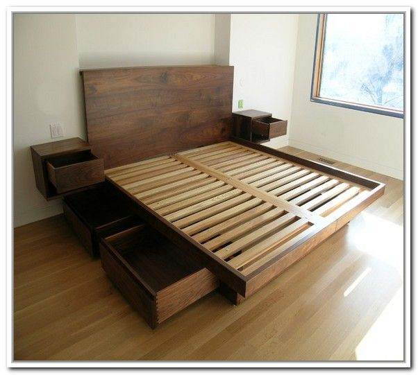 Resemblance Of King Platform Bed Frames Selections With Drawers Plans