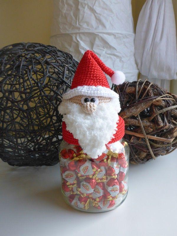 Häkelanleitung Nikolaus Bonbonglas Jar Lid Covers Crochet