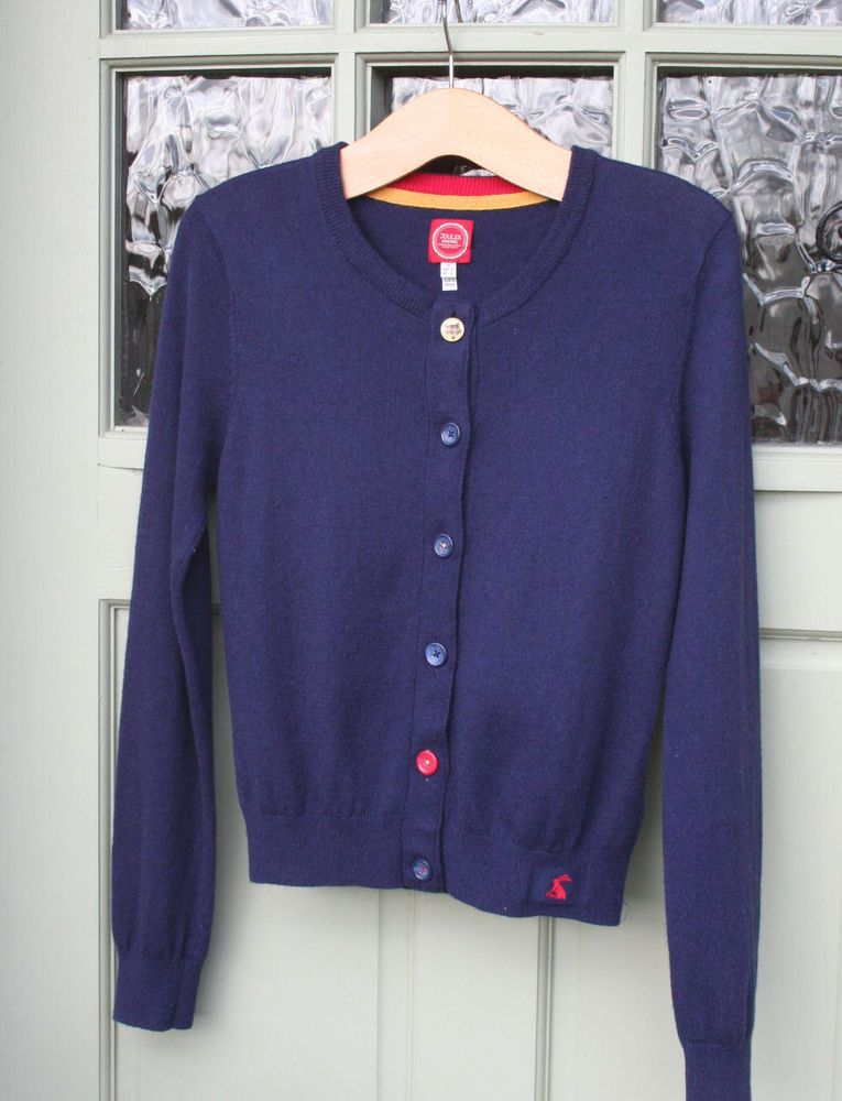 JOULES soft lightweight wool/angora Navy cardigan top...size 10 ...