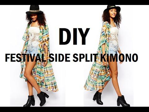 DIY | HOW TO MAKE A FESTIVAL SIDE SPLIT KIMONO/CARDIGAN - YouTube ...