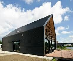 A shed with full glass facade