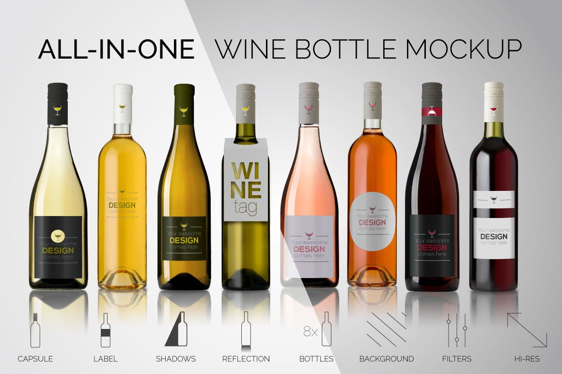 All In One Wine Bottle Mockup 4085 Products Design Bundles Bottle Mockup Mockup Free Psd Free Packaging Mockup
