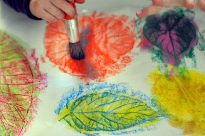 Leaf Rubbing And Watercolor Painting Oil Pastel Crayons