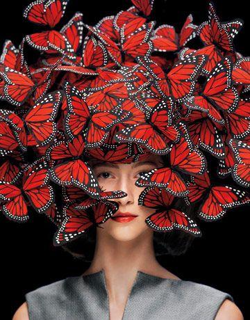 KDSFHLL Tableau D/écoratif /À Cinq Panneaux Rouge Amour Coeur Papillon Style De Mode 5 Pi/èces Affiche De Bande Dessin/ée Impression sur Toile Peinture Mur Art D/écoration De La Maison Affiche sans Cadre