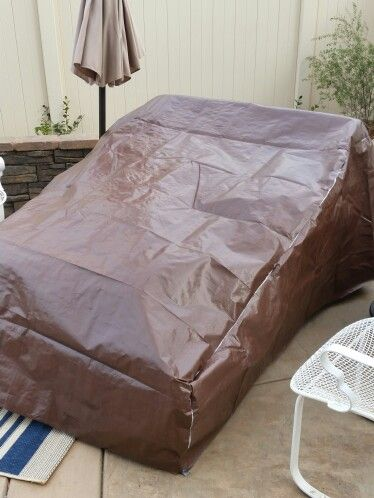 DIY Patio Furniture Cover! Costco Tarp And Duct Tape! Cheap Solution. Part 88