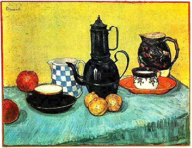 Still Life with Blue Enamel Coffeepot, Earthenware, and Fruit. 1888. Oil on canvas.