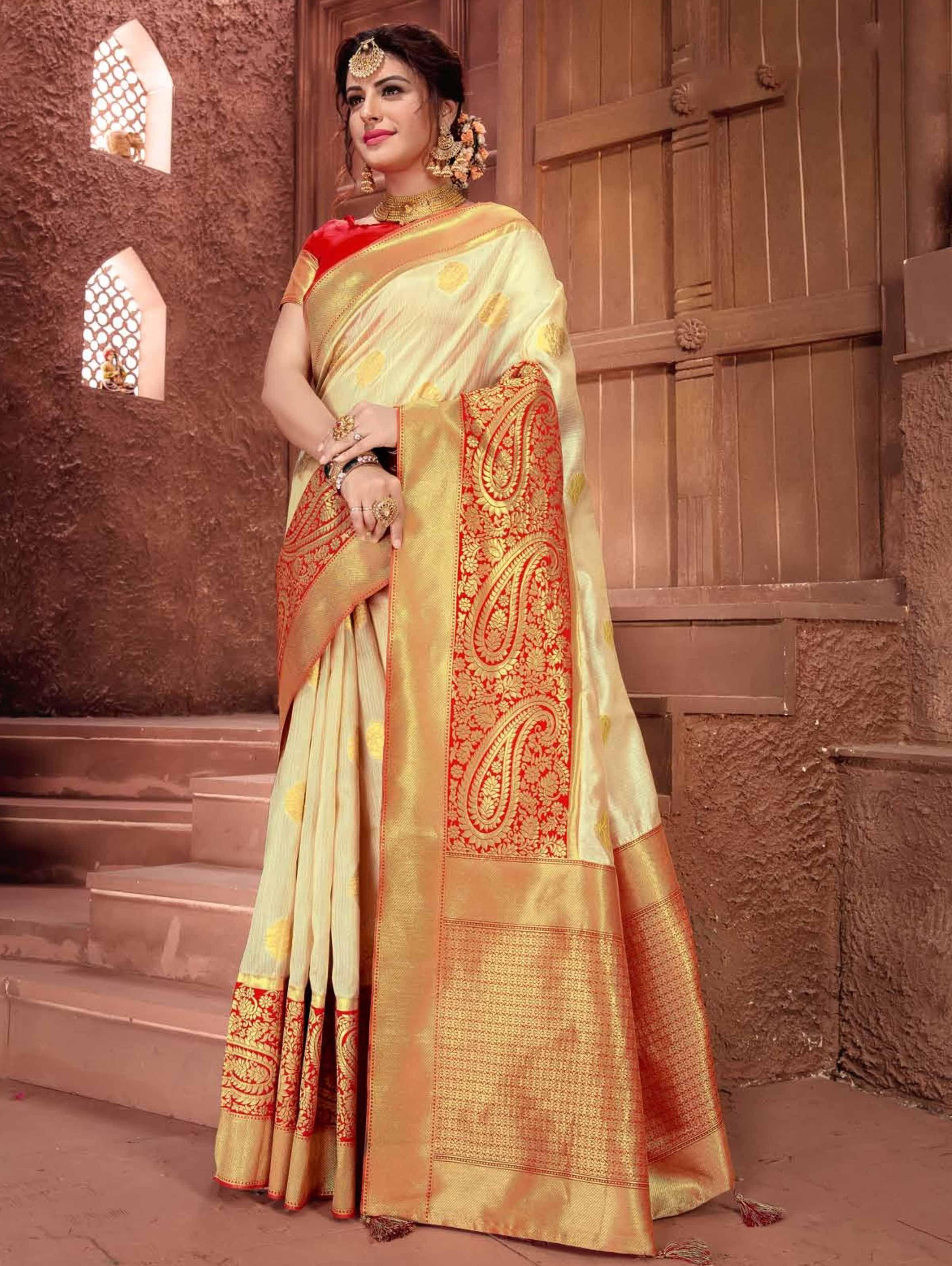 Red Wedding Saree Art Silk Jacquard Golden Silver Zari Weaving pallu Border