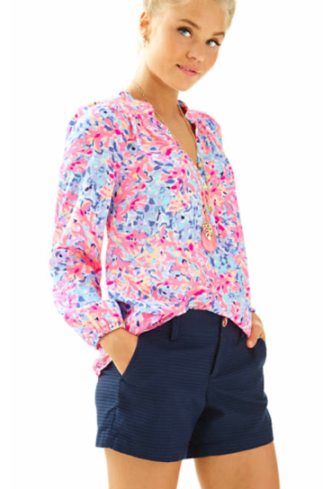 19bd9783161f0 Love! Own as a cold shoulder blouse. Lilly Pulitzer Coral Crab Elsa ...