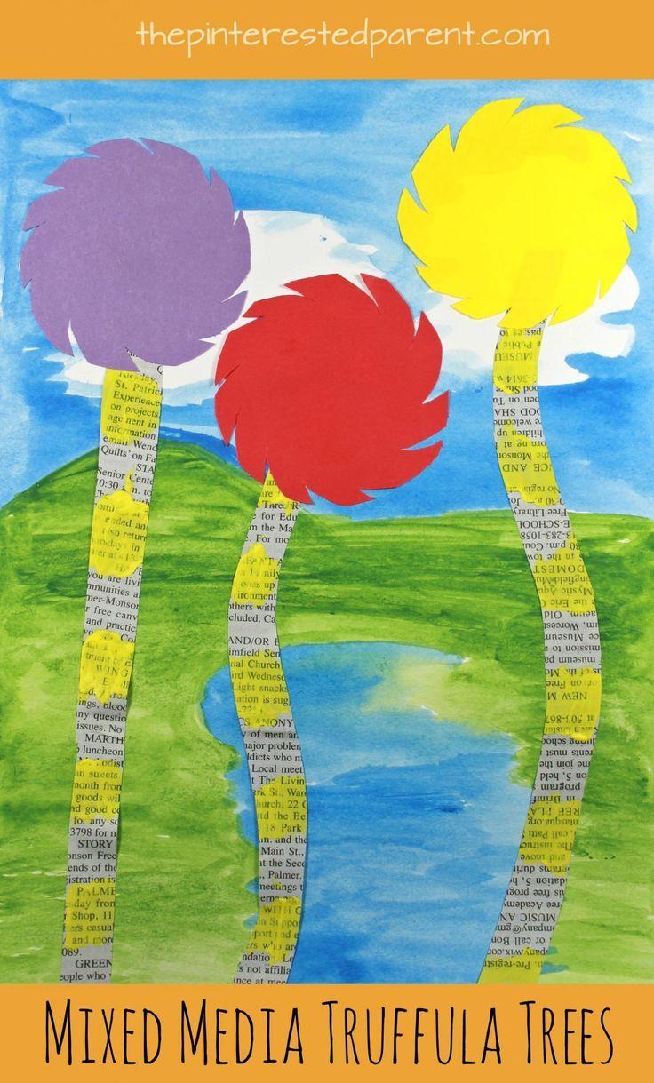 Mixed Media Truffula Tree Art Inspired By Dr Seuss The
