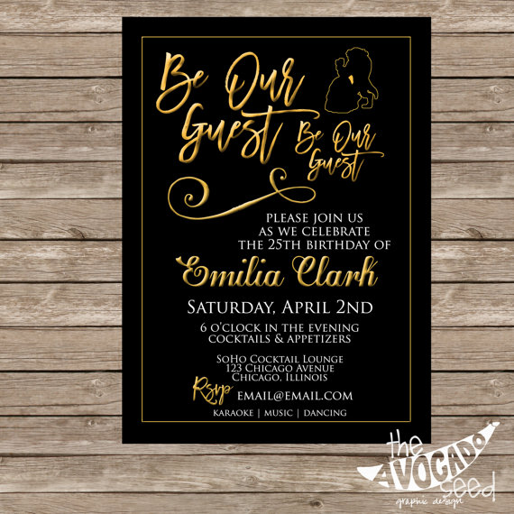 Be Our Guest Beauty and the Beast Inspired Black Gold Invitation