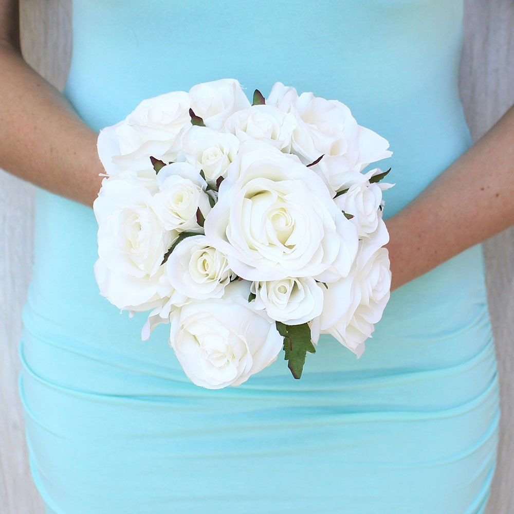 Small confetti rose silk wedding bouquet in white875 izmirmasajfo Images