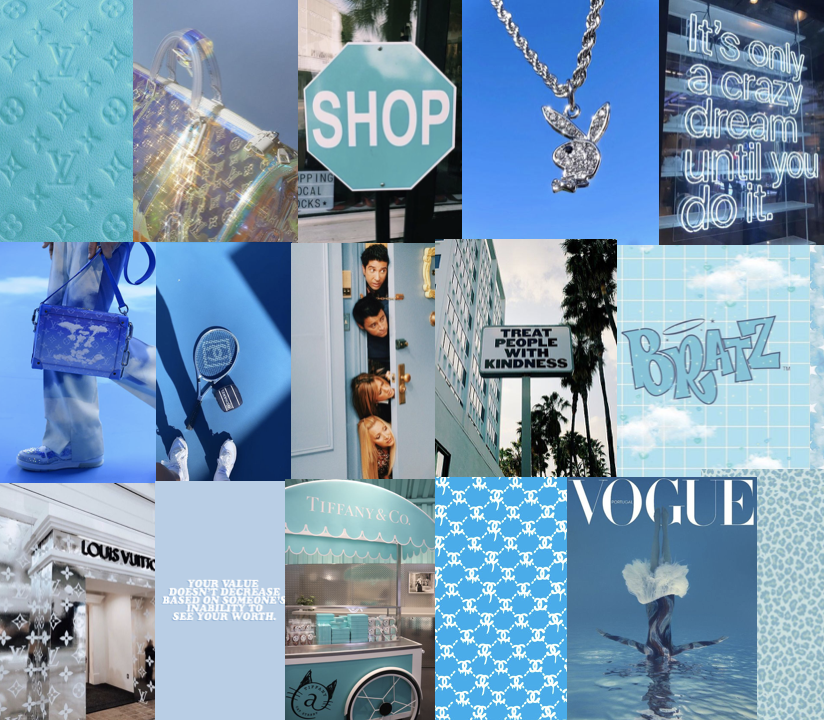 40 Blue Boujee Baddie Collage Aesthetic Trendy Vogue Etsy In 2021 Wall Collage Bad Girl Wallpaper Blue Wallpaper Iphone