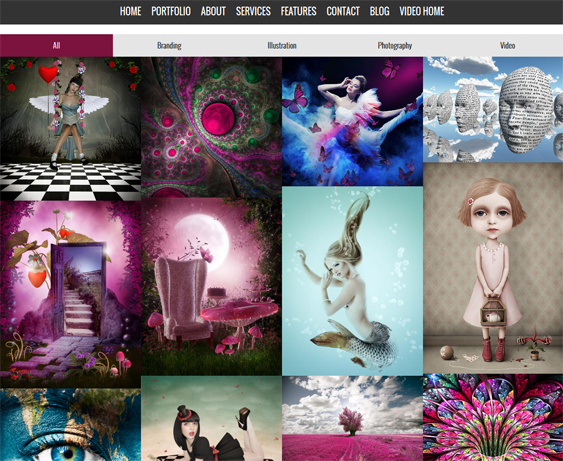 This portfolio Joomla theme comes with parallax effects, a