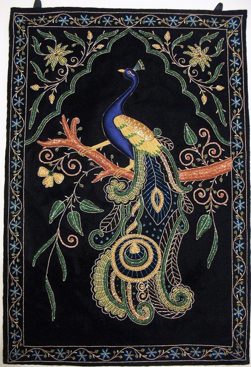 Peacock Wall Hanging Rug Jewel Carpet Kashmir Hand Embroidery