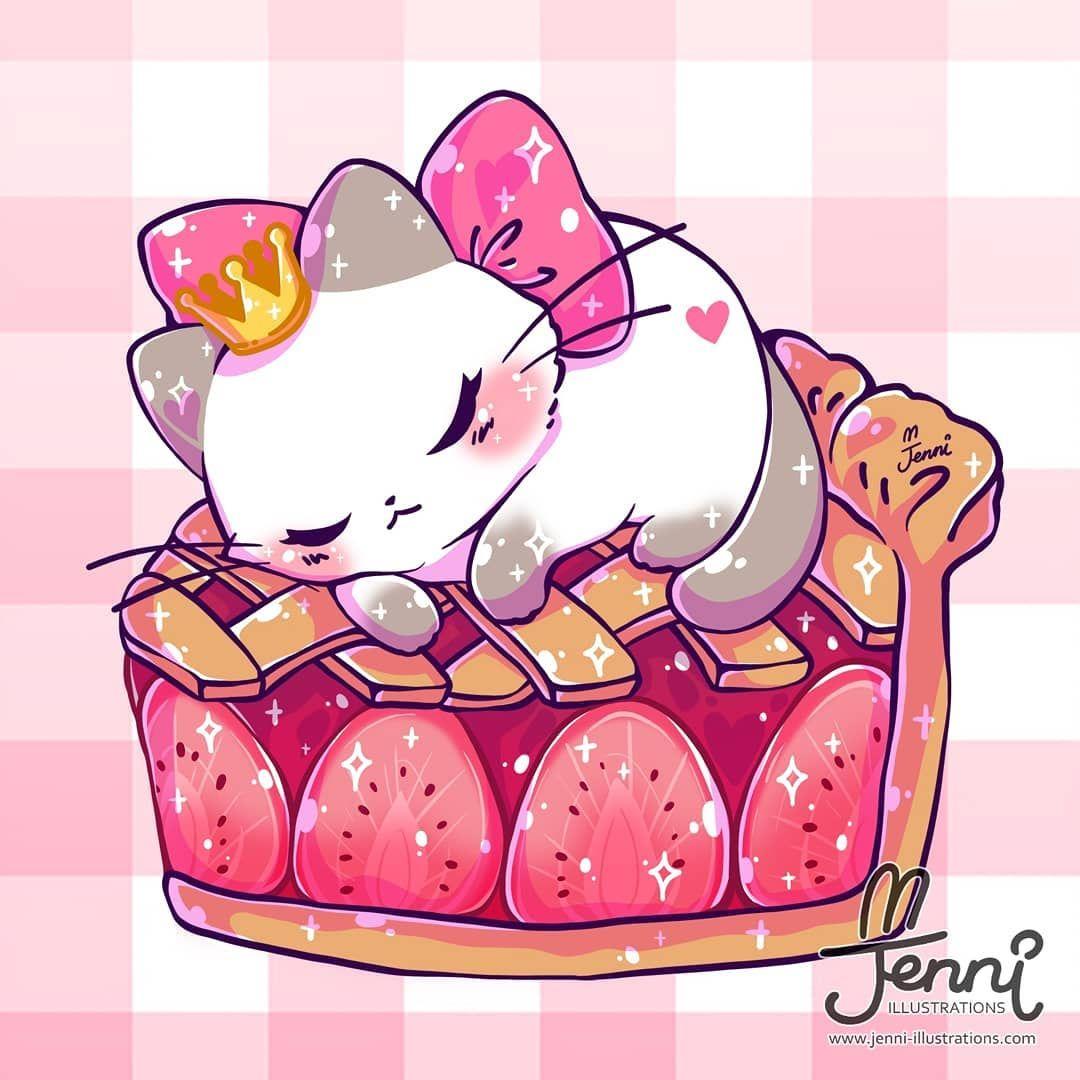 Strawberry Dessin animaux mignons, Illustration de chat