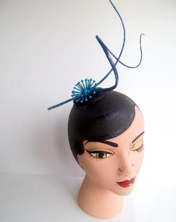 Small Blue Glitter Astro Girl Sinamay Fascinator by ChefBizzaro, $50.00